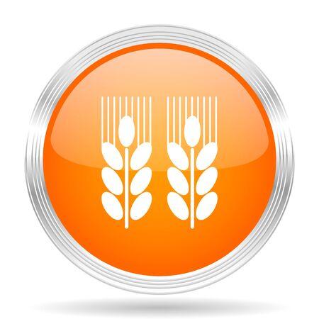 crop circle: agricultural orange silver metallic chrome web circle glossy icon