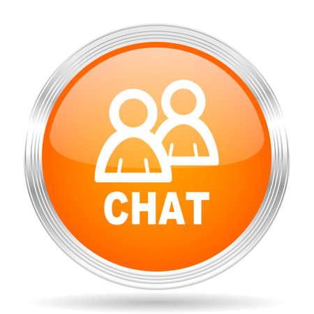 chat icon: chat orange silver metallic chrome web circle glossy icon