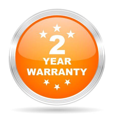 web 2: warranty guarantee 2 year orange silver metallic chrome web circle glossy icon