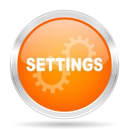 settings orange silver metallic chrome web circle glossy icon