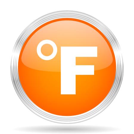 fahrenheit: fahrenheit orange silver metallic chrome web circle glossy icon Stock Photo