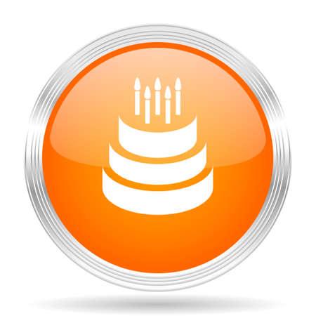 orange cake: cake orange silver metallic chrome web circle glossy icon