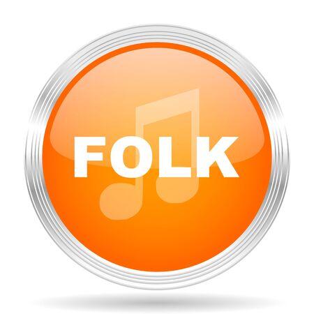 folk music: folk music orange silver metallic chrome web circle glossy icon Stock Photo