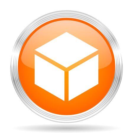 silver circle: box orange silver metallic chrome web circle glossy icon Stock Photo