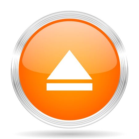 eject: eject orange silver metallic chrome web circle glossy icon Stock Photo