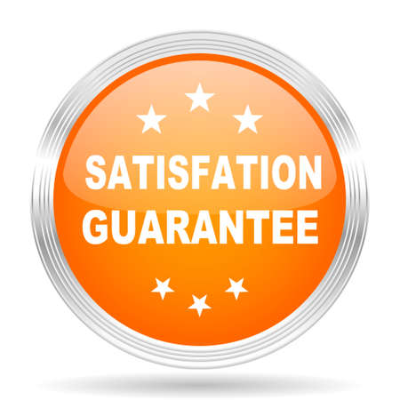 satisfaction guarantee: satisfaction guarantee orange silver metallic chrome web circle glossy icon