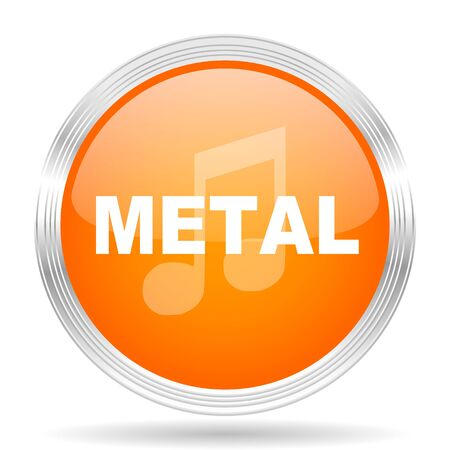 live stream sign: metal music orange silver metallic chrome web circle glossy icon Stock Photo