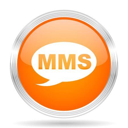 mms icon: mms orange silver metallic chrome web circle glossy icon