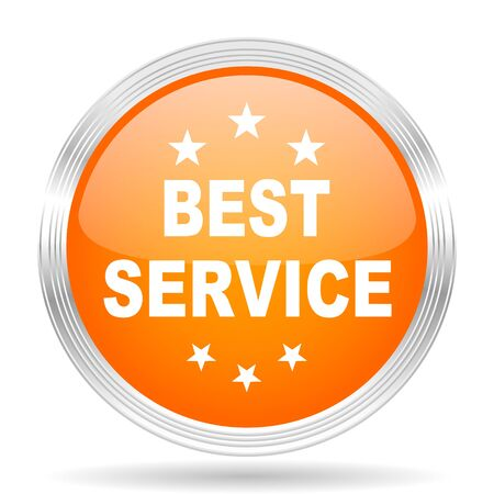 silver service: best service orange silver metallic chrome web circle glossy icon