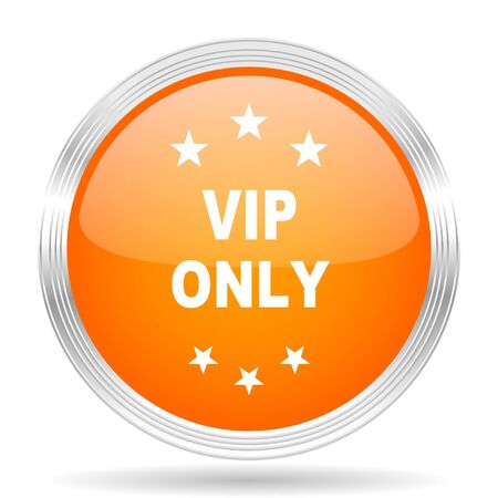 only: vip only orange silver metallic chrome web circle glossy icon