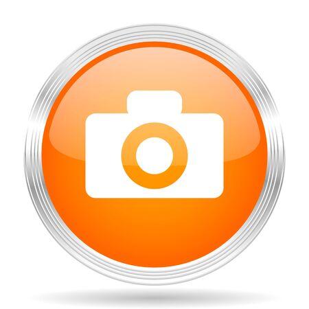 picto: camera orange silver metallic chrome web circle glossy icon Stock Photo