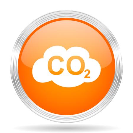 dioxido de carbono: el dióxido de carbono de color naranja del Web de la plata metálico cromado brillante icono
