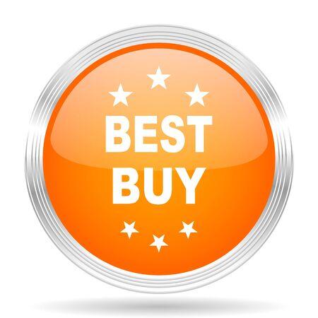 best buy: best buy orange silver metallic chrome web circle glossy icon Stock Photo
