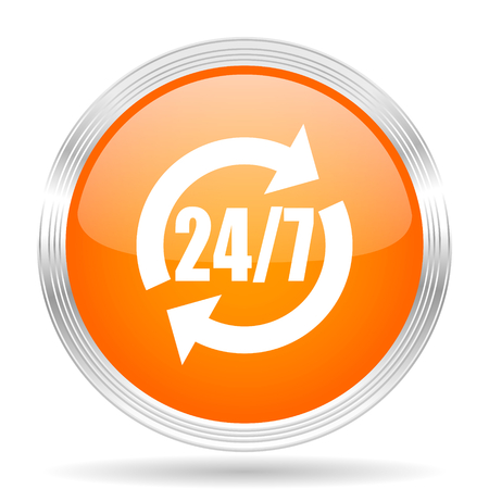 silver service: service orange silver metallic chrome web circle glossy icon