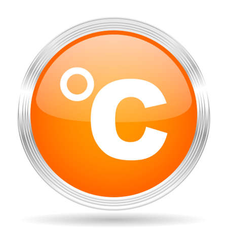 celsius: celsius orange silver metallic chrome web circle glossy icon
