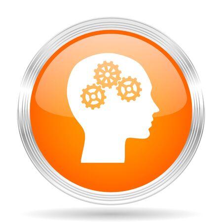 brainy: head orange silver metallic chrome web circle glossy icon
