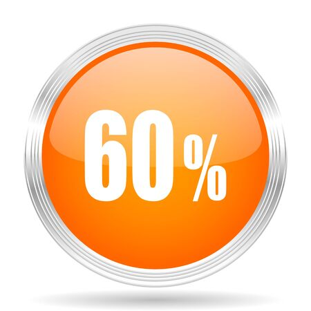 60: 60 percent orange silver metallic chrome web circle glossy icon