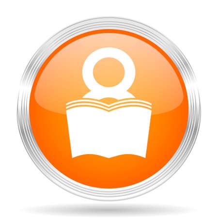 reading app: book orange silver metallic chrome web circle glossy icon
