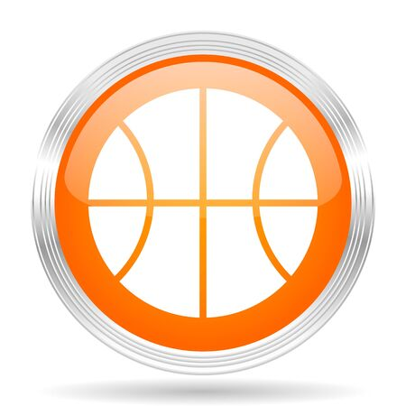 chrome ball: ball orange silver metallic chrome web circle glossy icon