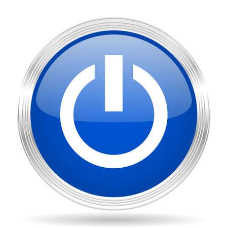 run off: power blue silver metallic chrome web circle glossy icon