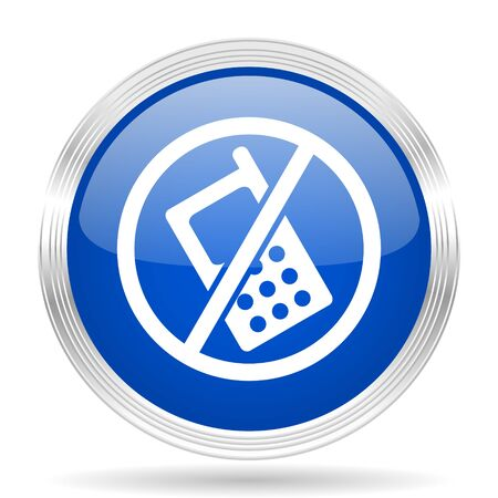 no cell phone sign: no phone blue silver metallic chrome web circle glossy icon