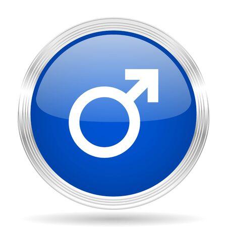 chrome man: male blue silver metallic chrome web circle glossy icon Stock Photo