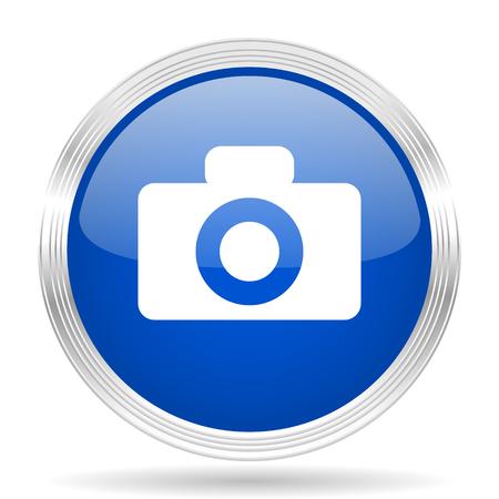 picto: camera blue silver metallic chrome web circle glossy icon Stock Photo