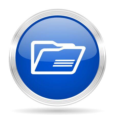 web directories: folder blue silver metallic chrome web circle glossy icon