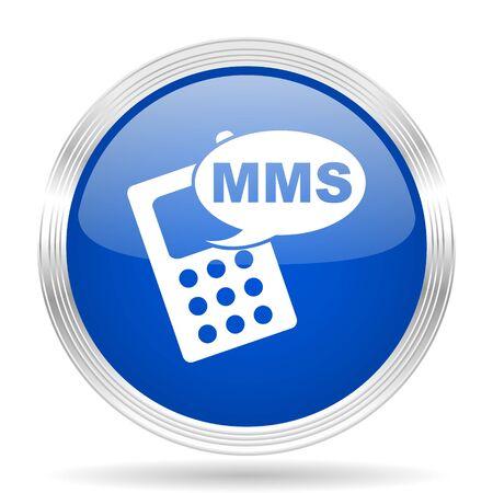 mms: mms blue silver metallic chrome web circle glossy icon