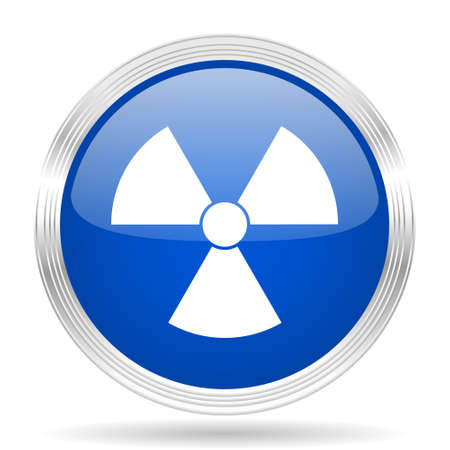 gamma radiation: radiation blue silver metallic chrome web circle glossy icon
