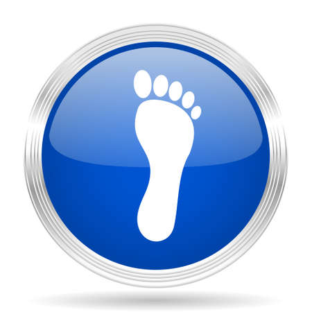barefoot walking: foot blue silver metallic chrome web circle glossy icon Stock Photo