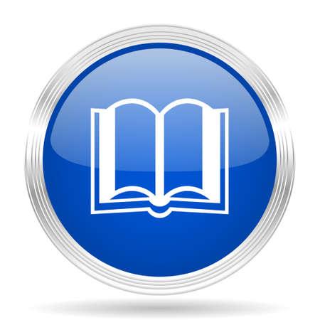 guestbook: book blue silver metallic chrome web circle glossy icon