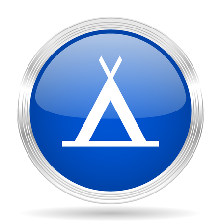 trek: camp blue silver metallic chrome web circle glossy icon