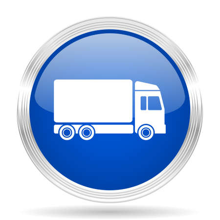 chrome: delivery blue silver metallic chrome web circle glossy icon Stock Photo