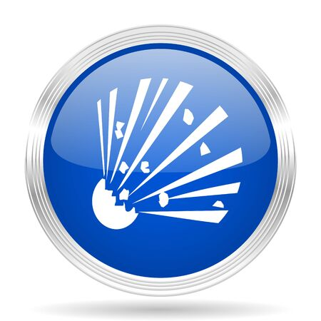 explosion hazard: bomb blue silver metallic chrome web circle glossy icon