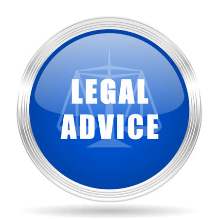 advisor: legal advice blue silver metallic chrome web circle glossy icon Stock Photo