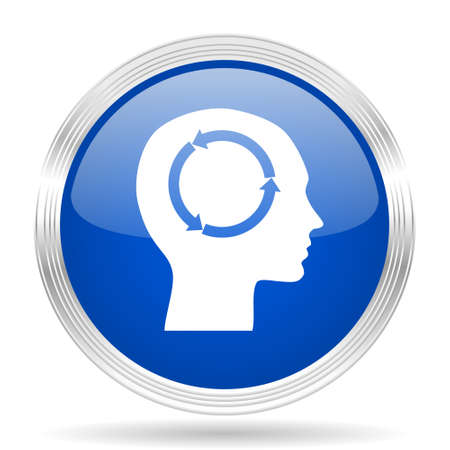 brainy: head blue silver metallic chrome web circle glossy icon Stock Photo