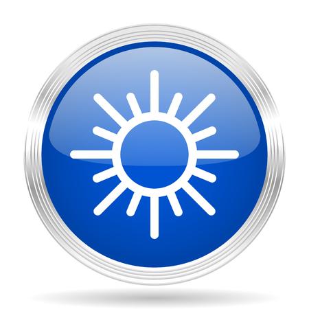 metallic  sun: sun blue silver metallic chrome web circle glossy icon