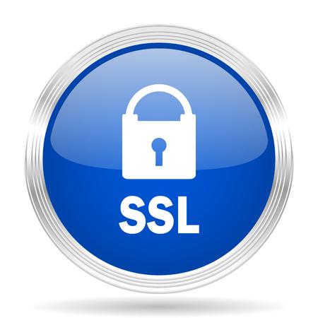 ssl: ssl blue silver metallic chrome web circle glossy icon Stock Photo