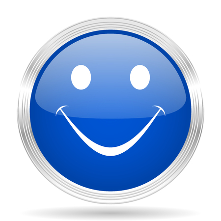 yea: smile blue silver metallic chrome web circle glossy icon