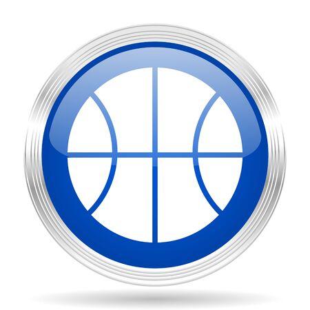 chrome ball: ball blue silver metallic chrome web circle glossy icon