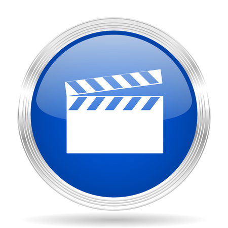 watch movement: video blue silver metallic chrome web circle glossy icon