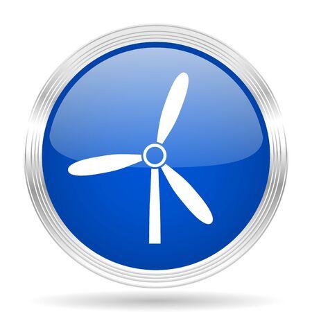 steel mill: windmill blue silver metallic chrome web circle glossy icon