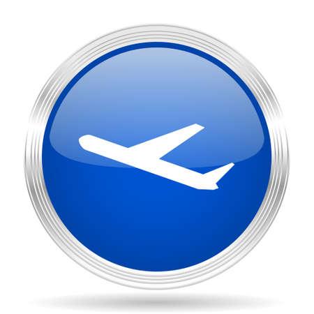air transport: deparures blue silver metallic chrome web circle glossy icon