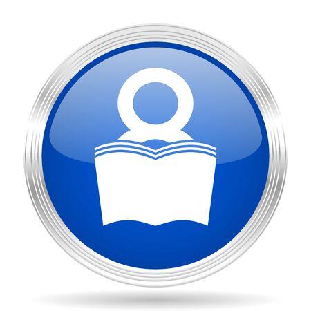 e book: book blue silver metallic chrome web circle glossy icon