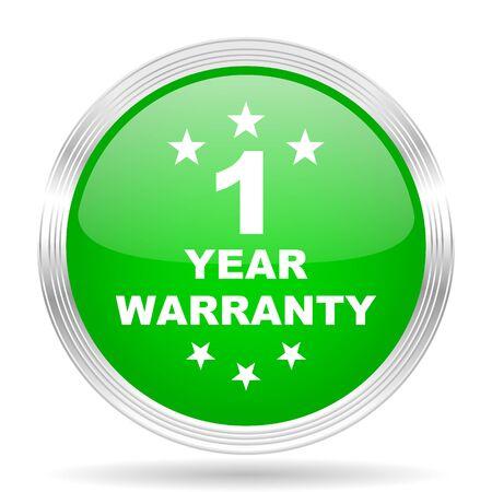 1 year: warranty guarantee 1 year green modern design web glossy icon Stock Photo