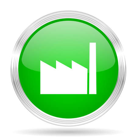 industrial complex: factory green modern design web glossy icon