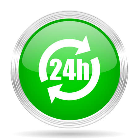 24h: 24h green modern design web glossy icon