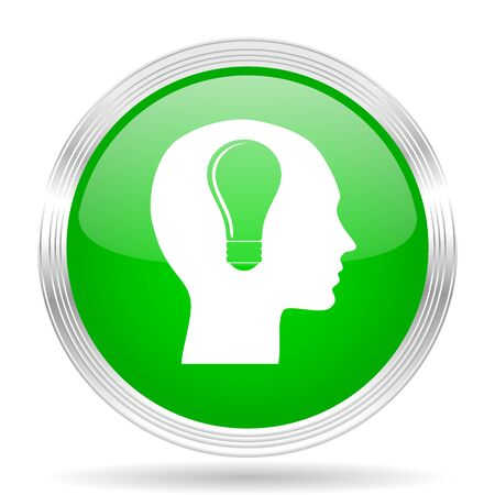 brainy: head green modern design web glossy icon