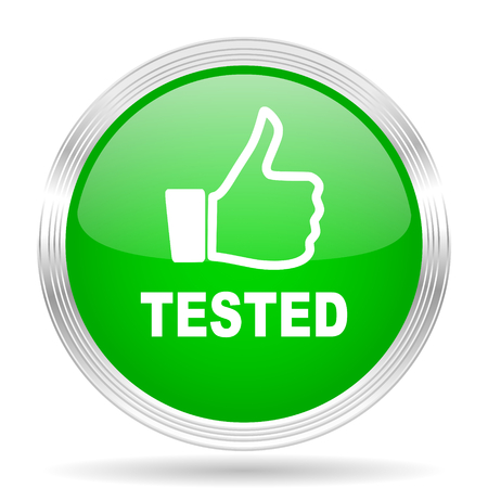 tested: tested green modern design web glossy icon